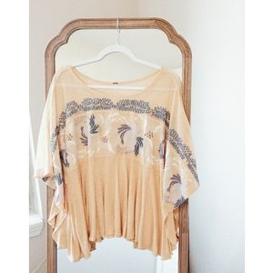 FREE PEOPLE Yellow Patterned Oversized Top sz M